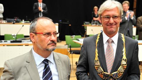 Der neue OB Partsch (r.) und sein Vorgänger Hoffmann.