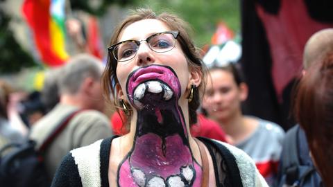 Blockupy-Demonstrantin