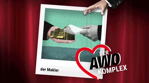 Die Grafik zeigt ein Polaroid, auf dem zwei Hände zu sehen sind, die Geld gegen ein Gebäude tauschen. Das Polaroid ist vor einem Theatervorhang, wobei von oben eine Hand in das Bild ragt, die wie eine Marionette das AWO-Logo an Fäden hält.