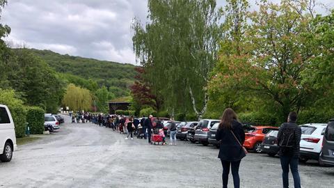 Schlange vorm Kronberger Opel-Zoo