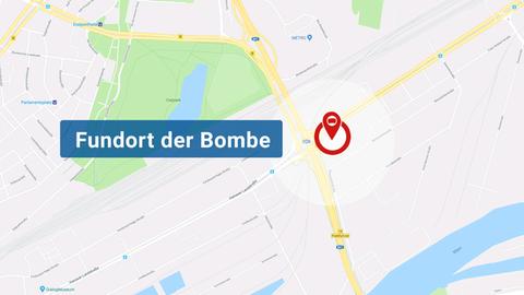 Die Karte zeigt den Fundort der Bombe im Frankfurter Ostend
