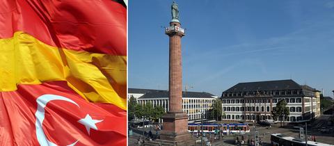 Collage aus einer deutschen und einer türkischen Flagge sowie dem Luisenplatz in Darmstadt