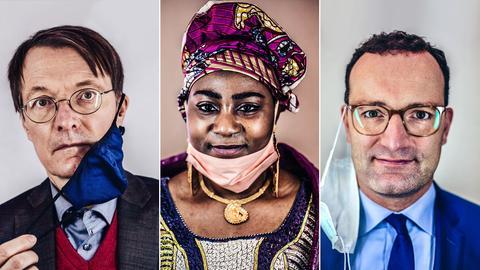 Portraits von drei Menschen, die sich mit einer Maske im Gesicht - am Kinn, hinter dem Ohr - haben fotografieren lassen.