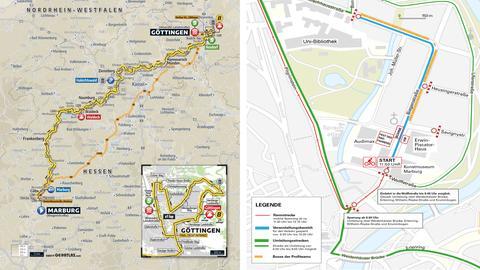Eine Streckenkarte der zweiten Etappe zwischen Marburg und Göttingen