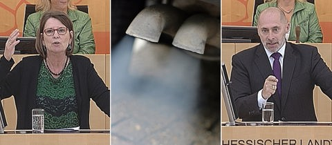 Bildcollage aus Bildern der Debatte des Dieselverbots im Landtag Hessen