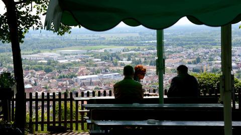 Ein Blick vom Kirchberghäuschen auf Bensheim