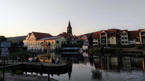 Abendstimmung an der Fulda in Rotenburg.