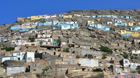Bunte Häuser in Kabul