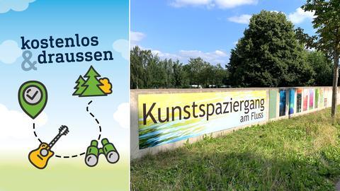 """An einer Mauer hängen Kunstwerke, der Schriftzug """"Kunstspaziergang am Fluss"""" macht auf die Ausstellung aufmerksam. Im Hintergrund ist der Sprungturm des Freibades an der Fulda zu sehen."""