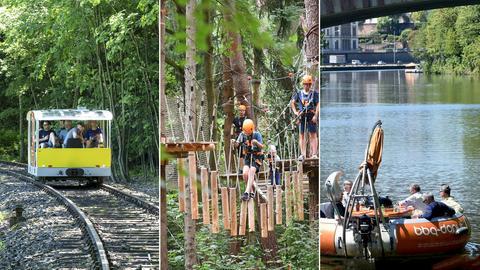 Die drei Fotos zeigen das Freizeitvergnügen mit einem Bähnchen durch den Wald zu fahren, sich durch einen Kletterwald zu hangeln und mit einem bbq donut-Boot auf einem Fluss zu schippern.