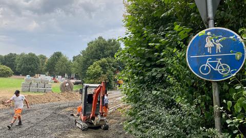 Schild an der Radweg-Baustelle