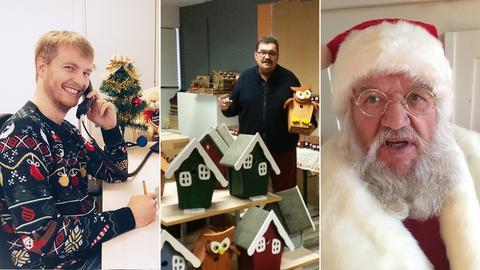Collage: Mann in Weihnachtspulli am Telefon, Mann mit Geschenken, Nikolaus