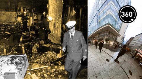 Brand im Kaufhofs auf der Frankfurter Zeil (schwarz-weiß)