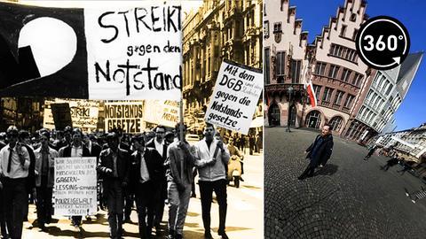 Proteste gegen Notstandsgesetze in Frankfurt