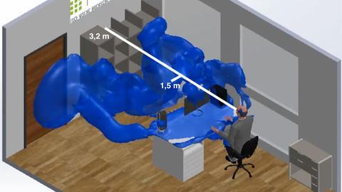 Dreidimensionale Computergrafik, die einen Menschen an einem Schreibtisch umgeben von einer blauben Wolke zeigt