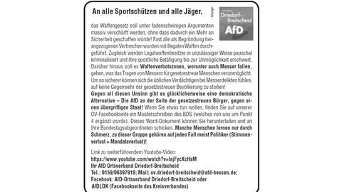 Bild der Anzeige im Driedorfer Mitteilungsblatt