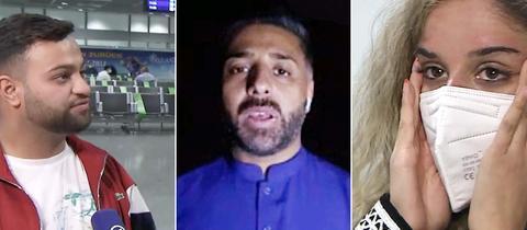 Drei junge Menschen, die aus Afghanistan zurückgekehrt sind