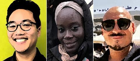 Collage mit Fotos von Jonny, Maimouna und Chou