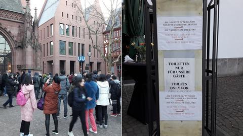 Der Tourismus boomt in der neuen Frankfurter Altstadt - problematisch wird es, wenn die Besucher mal müssen.