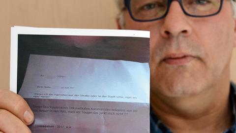 """Andreas Goerke vom Verein """"Fulda stellt sich quer"""" mit einem Drohbrief gegen seinen Sohn"""