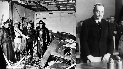 Bildkombination: Zerstörte Baracke im Führerhauptquartier Rastenburg / Hermann Kaiser vor dem Volksgerichtshof