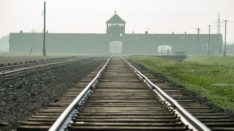 Ein Blick auf die Bahngleise, die zum KZ Auschwitz führen.