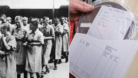 Bildkombo Auschwitz-Häftlinge und Tonband des Auschwitzprozesses