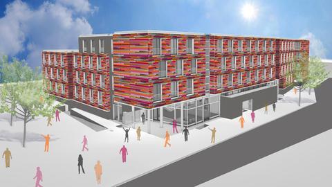 Visualisierung des geplanten Wohnheims: Ein mehrgeschossiges Gebäude mit großen Fenstern und roter Fassade.