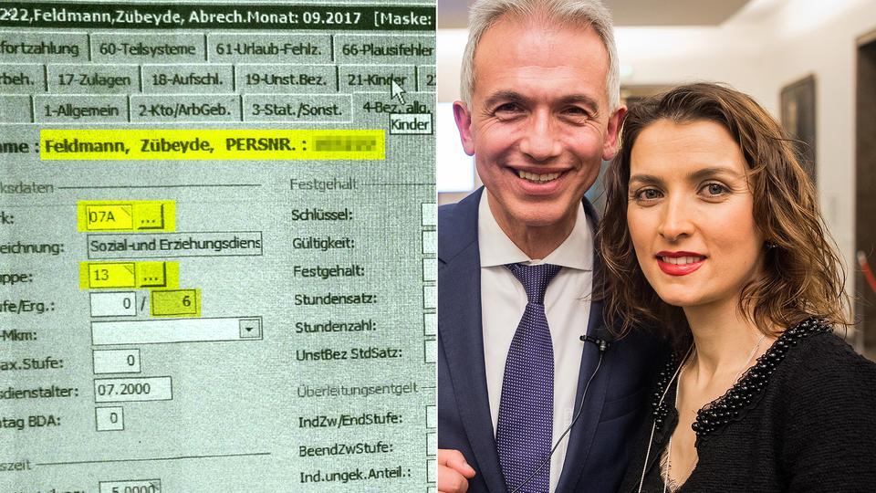 Interner Beleg der Gehaltsrechnung von Zübeyde Feldmann, rechts mit ihrem Ehemann Peter Feldmann