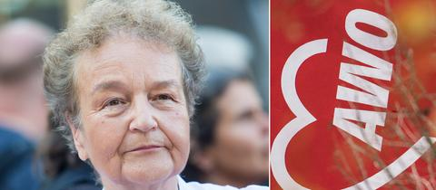 Die linke Bildhälfte zeigt das Portrait von Hertha Däubler-Gmelin. Die rechte Bildhälfte den vertikal verlaufenden weißen Schriftzug AWO auf einer roten Wand.