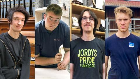 Bildkombination aus vier Fotos: ein Orgelbauer, ein Schreiner, ein Uhrmacher und ein Hufschmied.