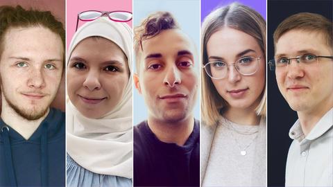 Fünf Portraits der Protagonisten.