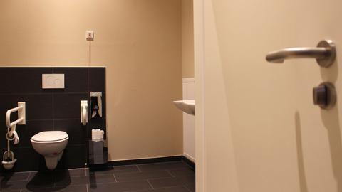 Das Behinderten WC ohne elektrischen Türöffner