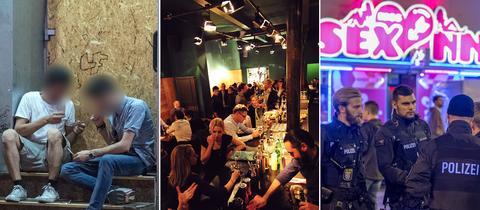 Collage aus drei Bildern: Zwei Drogenabhängige auf der Straße, Blick in Szene-Bar, Razzia vor Bordell