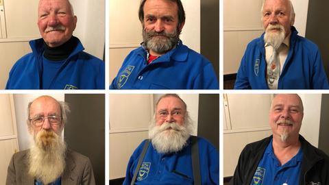 Eine Fotocollage von sechs Männern mit unterschiedlichen Bärten