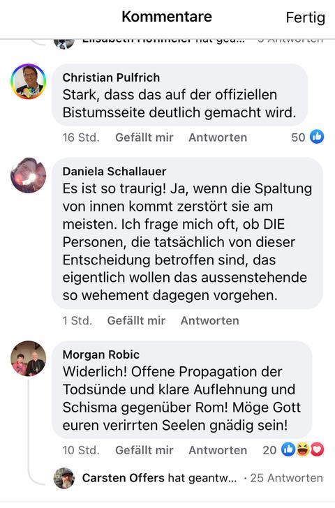 Ein Screenshot von verschiedenen Facebook-Kommentaren zum Profilbild