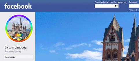 Ein Screenshot des Facebook-Profils des Bistums. Dort ist der Dom zu sehen, der von einem Regenbogen umrandet wird.