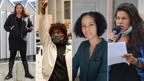 Porträts von Siraad Wiedenroth, Joel Ghirmay, Hadija Haruna-Oelker und Aida Roumer (von links nach rechts).