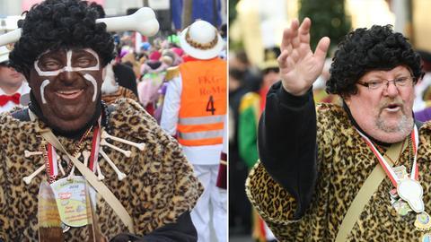 Eine Karnevalsfigur verzichtet nach Rassimus-Vorwürfen auf Blackfacing, links: 2012, rechts 2017
