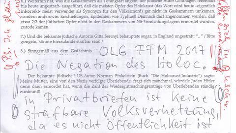 """""""Die Negation des Holoc. in privaten Briefen ist keine strafbare Volksverhetzung, weil sie nicht Öffentlichkeit ist."""" Auszug aus einem der der Hass- und Drohbriefe an die Brüder Bender."""