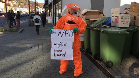 Demonstrant gegen NPD