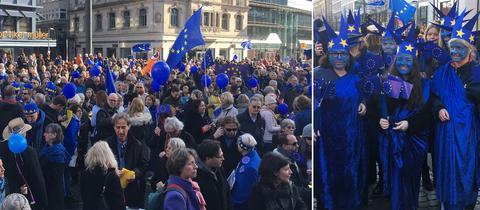 Teilnehmer der Pulse of Europe Kundgebung am Fastnachtssonntag