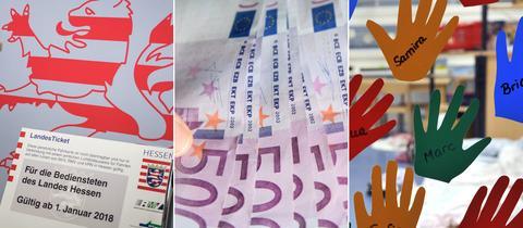 Bildcollage: Landesticket, 500-Euro-Schein, Kita - Kinderhände mit Namen