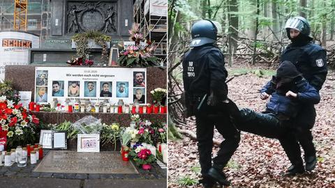 Collage: Blumen und Bilder an Gedenkort niedergelegt, Polzisten tragen vermummten Demonstranten aus dem Wald