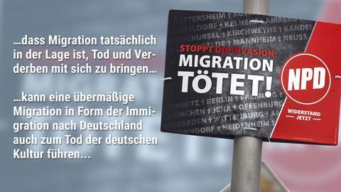 Zitat aus Gießener NPD-Urteil und Wahlplakat