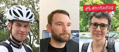 Collage aus drei Bilder: Benedikt Lind mit Fahrrad, Experte Alexander Gardyan in Innenraum und Carola Pahl mit Fahrrad