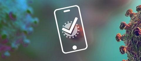 Grafik, welche den mobilen Impfpass symbolisiert. Vor einem Hintergrund aus einer mikroskopischen Aufnahmen eines Coronavirus ist ein Icon eines Smartphones zu sehen, auf dessen Screen ein einzelnes Virus mit einem Häkchen dargestellt ist.