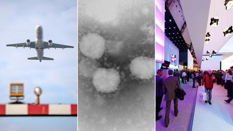 Collage: Flugzeug in der Luft, Mikroskopaufnahme des Corona-Virus, Messe Light and Building