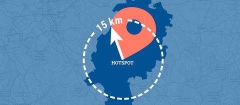 """Die Grafik zeigt die Karte des Bundeslandes Hessen mit einem Icon Ortsindikator und einem gestrichelten Kreis mit der Bezeichnung """"15 km"""" in Übergröße."""