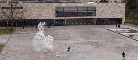 Der beinahe leere Campus der Frankfurter Goethe-Universität